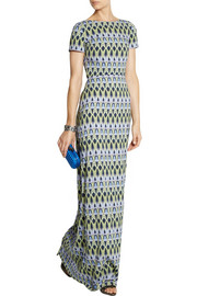 Matthew Williamson Bluebell Trellis stretch-crepe gown