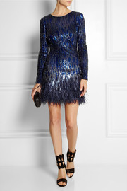 Matthew Williamson Feather-trimmed sequined mini dress