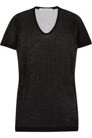 Agnona Double-layered wool and silk-blend T-shirt