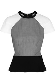 Roland Mouret Cymatia wool-blend, cloqué and cady top