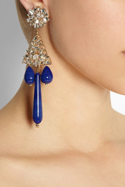Bijoux Heart Gold-plated, crystal and faux lapis clip earrings