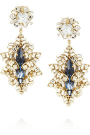 Bijoux Heart Gold-plated Swarovski crystal drop earrings
