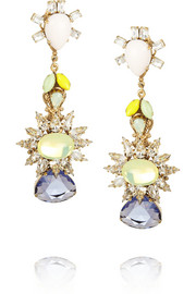 Bijoux Heart Gold-plated, Swarovski crystal and tanzanite earrings