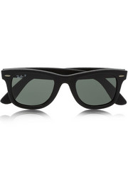 Ray-Ban The Wayfarer leather-covered acetate sunglasses
