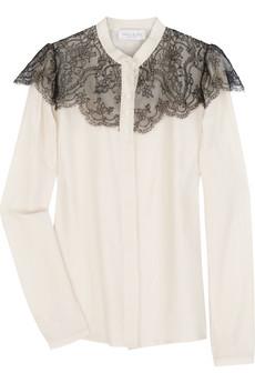 Paul & JoeLace cape silk-blend blouse