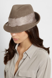 Eugenia Kim Max feather-trimmed rabbit-felt fedora