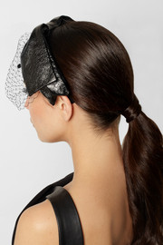 Eugenia Kim Carmel glossed-leather and tulle bow headband
