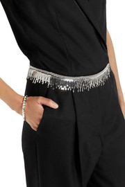 Maison Martin Margiela Fringed silver-tone and cotton belt