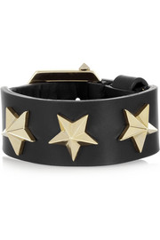 Star black leather bracelet