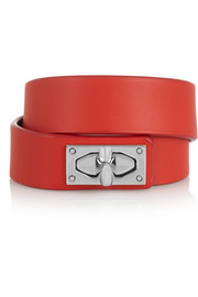 Givenchy Shark Lock bracelet in leather and palladium-tone brass