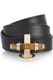 Obsedia bracelet in tigers eye and black leather