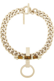 Givenchy Obsedia necklace in pale gold-tone brass and tiger's eye