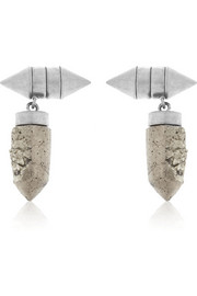 Givenchy Cone pendant earrings in palladium-tone brass and pyrite