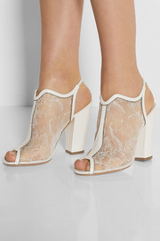 Nicholas Kirkwood Leather and glitter-trimmed lace sandals