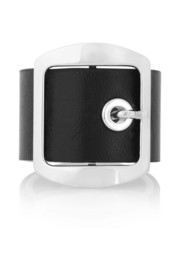 Givenchy Ring in black leather and palladium-tone brass