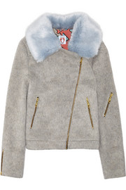 Shrimps Agnes faux fur-trimmed brushed-felt biker jacket