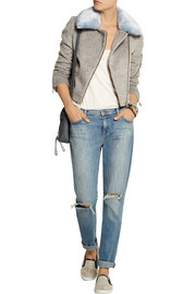 Agnes faux fur-trimmed brushed-felt biker jacket