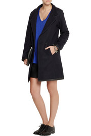 Lot78 Leather-trimmed wool-blend coat