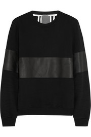 Lot78 Leather-paneled cotton-jersey sweatshirt