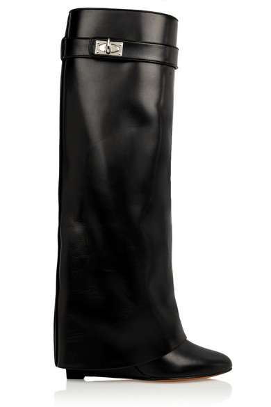 249b853f9e7e Givenchy   Shark Lock wedge knee boots in black leather   NET-A ...