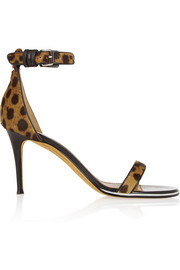 Nadia sandals in leopard-print calf hair