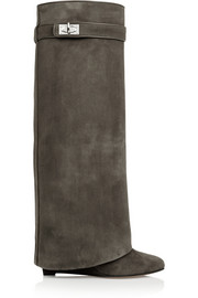 Shark Lock wedge knee boots in gray-green suede