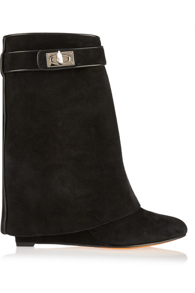 Givenchy. Shark Lock black suede wedge ankle boots 5181387479fe