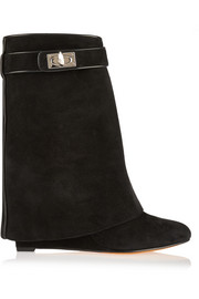 Shark Lock black suede wedge ankle boots