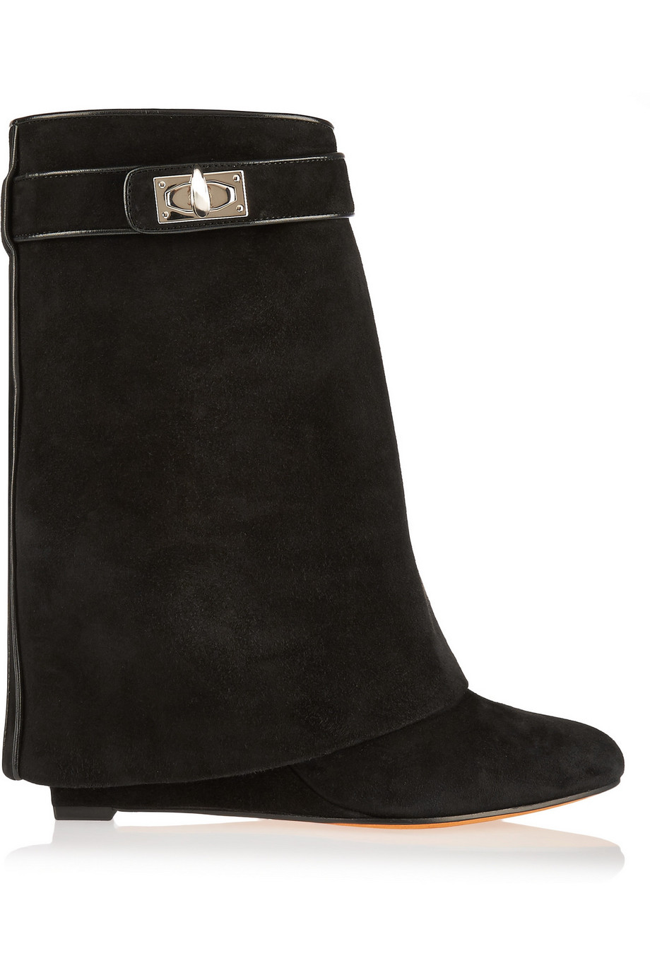 Givenchy Shark Lock Black Suede Wedge Ankle Boots, Women's US Size: 5, Size: 35.5