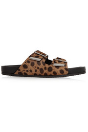 Swiss leopard-print calf hair sandals