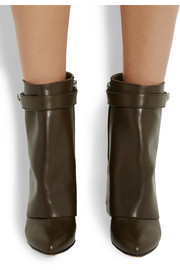 Givenchy Shark Lock army-green leather wedge ankle boots
