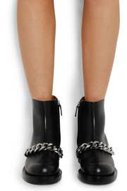 Laura chain-trimmed leather ankle boots