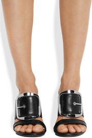 Odia oversized buckle mules in black leather