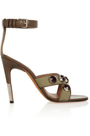 Agata sandals in army-green canvas and leather with crystals