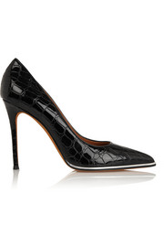 Givenchy Lia croc-effect patent-leather pumps in black with silver trim