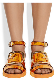Givenchy Oversized buckle sandals in metallic leather