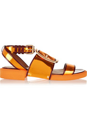 Oversized buckle sandals in metallic leather