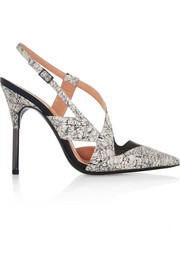 Roland Mouret Rabane printed elaphe and leather slingbacks