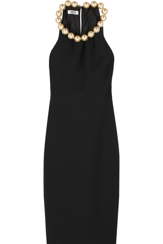 Black Crepe Pearl Neck Dress Boutique Moschino Net A Porter
