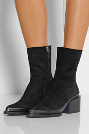 Jil Sander Leather-trimmed suede ankle boots