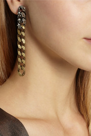 Lanvin Susan gunmetal and gold-tone crystal clip earrings