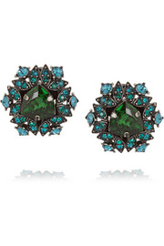 Lanvin Iconic gunmetal-tone crystal clip earrings