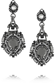 Lanvin Iconic gunmetal-tone, crystal and mirror clip earrings