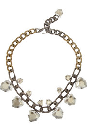 Laura silver and gold-tone crystal necklace