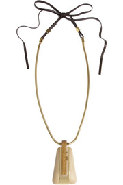 Lanvin Gold-tone, leather and wood necklace