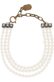 Lanvin 22 Faubourg Alice gold-tone glass pearl necklace