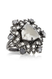 Lanvin Iconic gunmetal-tone crystal ring