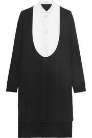 Givenchy Shirt dress in black silk-crepe and white piqué