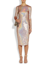Givenchy Knee-length dress in iridescent sequined jersey
