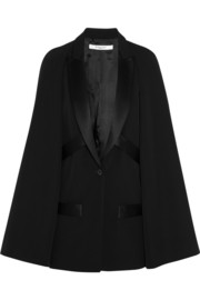 Givenchy Wool cape jacket with satin details